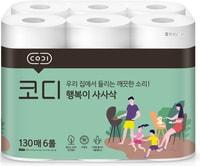 """Ssangyong """"Codi Kitchen Towel"""" Компактные кухонные салфетки, двухслойные, мягкие, тиснёные, 130 листов * 6 рулонов."""
