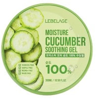 "Lebelage ""Moisture Cucumber Purity 100% Soothing Gel"" Увлажняющий успокаивающий гель с огурцом, 300 мл."