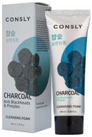 """Consly """"Charcoal Anti Blackheads Creamy Cleansing Foam"""" Кремовая пенка для умывания c древесным углем против черных точек, 100 мл."""