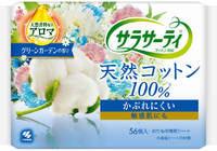 """Kobayashi """"Cotton 100%"""" Ежедневные гигиенические прокладки 100% хлопок, с ароматом цветущего сада, 56 шт."""