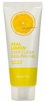 "FarmStay ""Real Lemon Deep Clear Peeling Gel"" Отшелушивающий гель с экстрактом лимона, 100 мл."