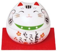 "Yakushigama ""Манэки-Нэко - Кот Счастья"", шкатулка, зеленый воротничёк."