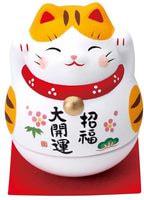 "Yakushigama ""Манэки-Нэко - Кот Счастья"", шкатулка-неваляшка, жёлтые ушки."