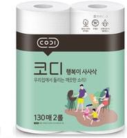 """Ssangyong """"Codi Kitchen Towel"""" Компактные кухонные салфетки, двухслойные, мягкие, тиснёные, 2 рулона по 130 листов."""