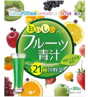 """Yuwa """"Аодзиру с фруктами"""" Напиток из порошка молодых листьев ячменя + экстракты 75 видов растительных ферментов, вкус яблока и манго, 20 шт. по 3 гр."""
