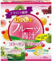 """Yuwa """"Аодзиру с фруктами"""" Напиток из порошка молодых листьев ячменя + экстракты 75 видов растительных ферментов, вкус киви и персика, 20 шт. по 3 гр."""