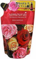 """SPR Japan """"Samourai Woman Premium"""" Шампунь для волос восстанавливающий и увлажняющий, с великолепным ароматом роз, сменная упаковка, 370 мл."""
