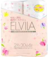 """Shikoku Tokushi """"Elvila Sweet Pea"""" Парфюмированная туалетная бумага, 2-х слойная, со сладким ароматом душистого горошка, 4 рулона по 30 м."""