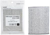 """SC """"Bright Scrubber"""" Губка для мытья посуды и кухонных поверхностей в серебристой плотной сетке средней жёсткости, 18 х 14 х 0,9 см, 1 шт."""