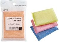 """SC """"Clear Scrubber"""" Губка для мытья посуды и кухонных поверхностей в полиэтиленовой ворсистой сетке, средней жесткости, 13 х 9 х 1.5 см, 1 шт."""