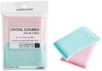 """SC """"Crystal Scrubber"""" Губка для мытья посуды и кухонных поверхностей в полиэтиленовой плотной сетке, жесткая, 13,5 х 8 х 2 см, 2 шт."""