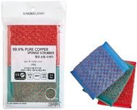 """SC """"Pure Copper Sponge Scrubber"""" Губка для мытья кастрюль и сковород с медной металлической нитью, жёсткая, 13 х 9 х 1,5 см, 2 шт."""