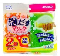 """Kikulon """"Awadasu Sponge Scouter Non Scratch"""" Губка для посуды трехслойная, с эффектом образования обильной пены, мягкий верхний слой, 2 шт."""