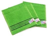 "Sungbo Cleamy ""Viscose Squared Bath Towel"" Мочалка-варежка для лица и тела из вискозы без подклада, жесткая, массажная, 13,5 х 15 см, 3 шт."