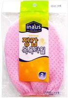 """Clean Wrap """"Inaus"""" Мочалка-варежка для тела из вискозы c подкладом на резинке, жесткая, массажная, 12 х 17 см, 1 шт."""