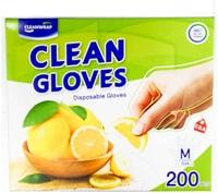 Clean Wrap Перчатки одноразовые полиэтиленовые, тонкие, размер М, 22,5х28 см, 200 шт.