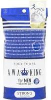 """Yokozuna """"Awa King"""" Мочалка-полотенце для мужчин ультражёсткая, синяя, 28Х120 см."""