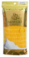 "Ohe Corporation ""Awayuki - Увлажняющая пена"" Массажная мочалка средней жесткости, жёлтая, 28Х100 см."