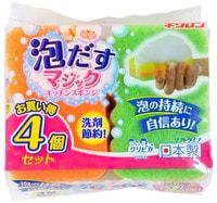 """Kikulon """"Awadasu Sponge Scourer Non Scratch"""" Губка для посуды трехслойная, с эффектом образования обильной пены, мягкий верхний слой, 10,5 Х 6,5 см., 4 шт."""