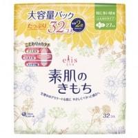 """Daio Paper Japan """"Elis Slim Maxi"""" Тонкие особомягкие гигиенические прокладки с усиленным впитывающим слоем, с крылышками, """"Макси"""", 27 см, 32 шт."""