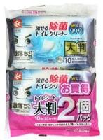 LEC Влажные салфетки для обработки унитаза, увеличенные, водорастворимые, спиртосодержащие, с антибактериальным эффектом, аромат мыла, 440 х 160 мм, 10 шт. х 2 уп.
