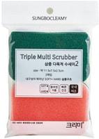 """SC """"Triple Filter Scrubber Soft & Hard"""" Многослойная губка для мытья посуды с абразивным и полиуретановым покрытием, средней жёсткости, 11,5 х 7,5 х 2,5 см, 2 шт."""