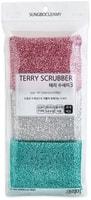 """SC """"Terry Scrubber"""" Губка для мытья посуды и кухонных поверхностей в серебристой ворсистой сетке, мягкая, 13 х 8 х 2,5 см, 3 шт."""