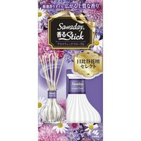 """Kobayashi """"Sawaday Stick Parfum Aromatic Floral"""" Натуральный аромадиффузор для дома, с цветочно-цитрусовым ароматом, стеклянный флакон, 70 мл, 8 палочек."""