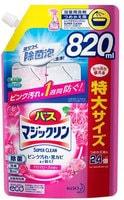 """KAO """"Magiсclean"""" Жидкость чистящая для ванны, предотвращающая образование розовой и чёрной плесени, с антибактериальным эффектом, аромат розы, мягкая упаковка, 820 мл."""
