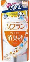 """Lion """"Soflan Premium Deodorizer Zero"""" Кондиционер для белья защищающий от неприятного запаха, натуральный аромат цветочного мыла, сменная упаковка, 420 мл."""