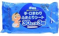 SHOWA SIKO Влажные салфетки для ухода за нежной кожей рук и лица малышей с экстрактом листьев персика и большим количеством лосьона, 3х30 шт., 15 см. на 20 см.