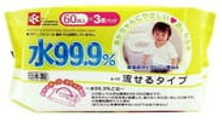 iPLUS Детские влажные салфетки, 99,9% воды - смывающиеся в унитазе, 60 шт., мягкая упаковка.