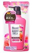 KAO «Biore Body deli» Гель для душа с очень плотной пеной, с ароматом персика и розы, сменная упаковка, 340 мл.