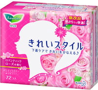 """KAO """"Laurier Beautiful Style"""" Ежедневные гигиенические прокладки, с ароматом розы, 72 шт."""
