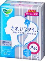 """KAO """"Laurier Beautiful Style"""" Ежедневные гигиенические прокладки с дезодорирующим эффектом и ионами серебра, 62 шт."""