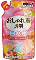 """NIPPON DETERGENT """"Oshyare Floral Bouquet"""" Жидкое средство для деликатной стирки шерсти, шёлка, 400 мл. Мягкая упаковка."""