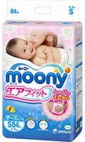 Moony Японские подгузники S (4-8 кг), 84 шт.