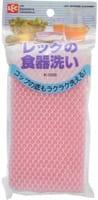 LEC Губка для мытья посуды в нейлоновой сетке, розовая, 1 шт.