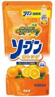 Kaneyo Средство для мытья посуды, овощей и фруктов, с ароматом апельсина, запасной блок, 500 мл.