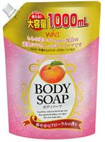 """Nihon """"Wins Body Soup peach"""" Крем-мыло для тела, с экстрактом листьев персика и богатым ароматом, 1 литр."""