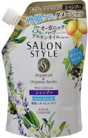 """KOSE Cosmeport """"Salon Style"""" Разглаживающий шампунь с экстрактом имбиря для повреждённых тусклых волос, без силикона, с освежающим травяным ароматом, запасной блок, 360 мл."""