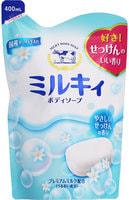 """COW """"Milky"""" Жидкое пенное мыло для тела c керамидами и молочными протеинами, с ароматом свежести, запасной блок, 400 мл."""