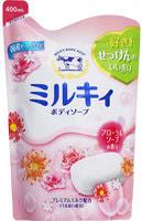 """COW """"Milky"""" Жидкое пенное мыло для тела c керамидами и молочными протеинами, с цветочным ароматом, запасной блок, 400 мл."""