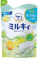 COW «Milky» Жидкое пенное мыло для тела c керамидами и молочными протеинами, с цитрусовым ароматом, запасной блок, 400 мл.