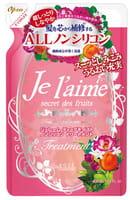 KOSE Cosmeport «Je l'aime» Тритмент для сухих и окрашенных волос «Глубокое увлажнение», с коллагеном и абрикосовым маслом, без силикона, с фруктово-цветочным ароматом, запасной блок, 400 мл.