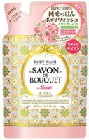 KOSE Cosmeport «Savon De Bouquet» Увлажняющее жидкое мыло для тела на основе растительных экстрактов, с ароматом розы, запасной блок, 400 мл.