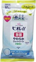 KAO «Biore U» Влажные антибактериальные салфетки для рук, спиртосодержащие, 10 шт.