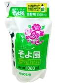 """MIYOSHI Универсальное жидкое средство для стирки """"Легкий ветерок"""", 1000 мл. Сменный блок."""