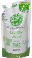 SARAYA «Happy Elephant» Жидкое средство для стирки на основе натуральных компонентов, с ароматом лаванды и чайного дерева, запасной блок, 720 мл.