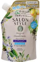 KOSE Cosmeport «Salon Style» Разглаживающий кондиционер для повреждённых тусклых волос, с экстрактом имбиря, без силикона, с освежающим травяным ароматом, запасной блок, 360 мл.
